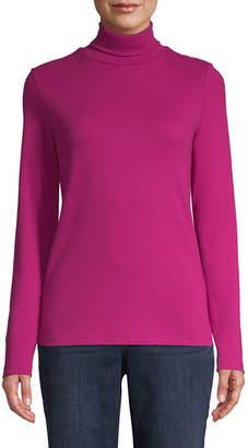 ST. JOHN'S BAY Long Sleeve Turtleneck T-Shirt-Womens