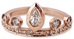 Jacquie Aiche 14K Rose Gold & Diamond Teardrop Tiara Ring, Size 7