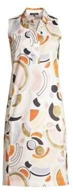 Lafayette 148 New York Women's Rudy Sleeveless Cotton Shirtdress - Cloud Multi - Size 0