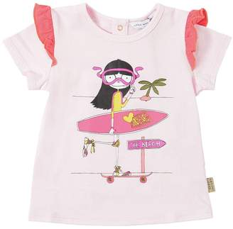 Little Marc Jacobs Printed Cotton Jersey T-Shirt W/ Ruffles