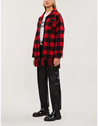 Sandro Fringed-trim wool-blend jacket
