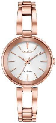 Citizen Eco-Drive White Dial Rose Gold Tone Bracelet Ladies Watch