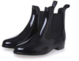 HANFU Women's Clarity Waterproof Ankle Rubber Rain Boots Puddles Boot Garden Shoe Droplet Shoes