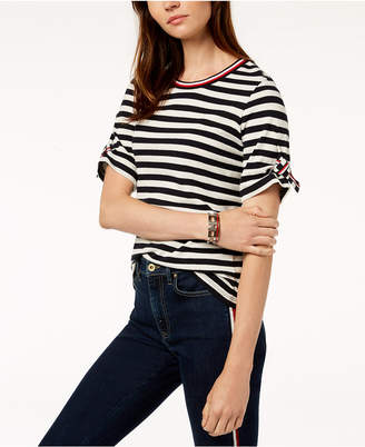 Tommy Hilfiger Striped Roll-Tab-Sleeve T-Shirt, Created for Macy's