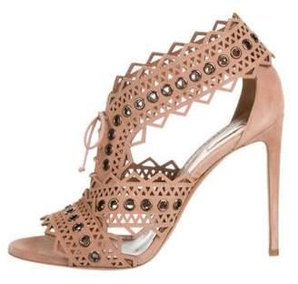 Alaia Suede Laser Cut Sandals