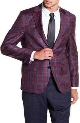 Ike Behar Logan Burgundy Plaid Two Button Notch Lapel Wool Sport Coat $329.97 thestylecure.com
