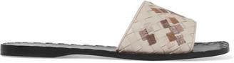 Bottega Veneta - Ravello Embroidered Intrecciato Leather Slides - Light gray $650 thestylecure.com