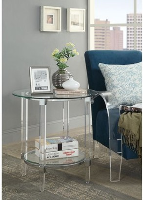 Acme Polyanthus Round End Table in Clear Acrylic and Glass