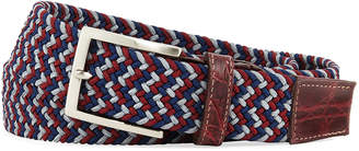 W.KLEINBERG W. Kleinberg Men's Sport Stretch Belt with Crocodile-Trim, Wine