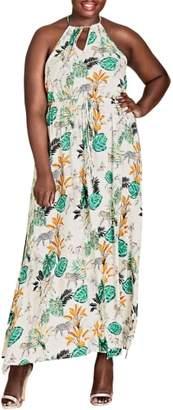 City Chic Jungle Study Drawstring Maxi Dress