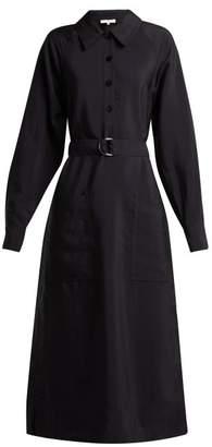 Tibi Belted Twill Midi Dress - Womens - Navy
