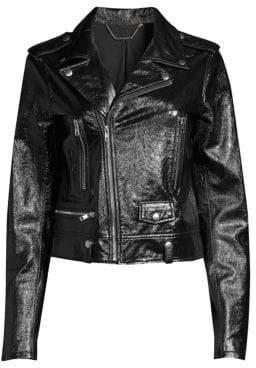 Elie Tahari Jacalyn Patent Leather Moto Jacket