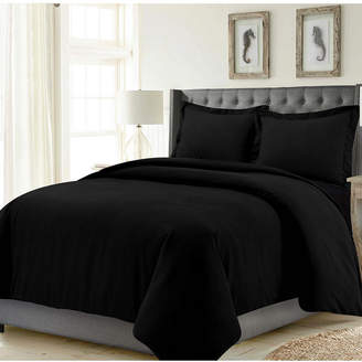Tribeca Living Madrid Solid Oversized Queen Duvet Cover Set Bedding
