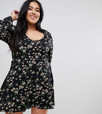 Brave Soul Plus Byrony Dress in Floral Print with Lace Insert