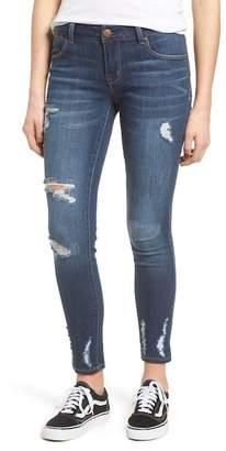 1822 Denim Chewed Hem Ankle Skinny Jeans