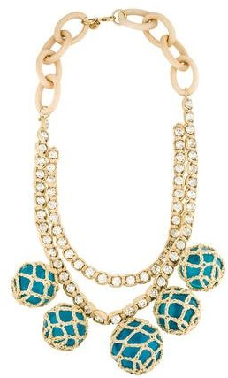 Tory BurchTory Burch Crystal Straw and Wood Necklace