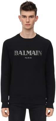 Balmain Logo Printed Cotton Jersey Sweatshirt