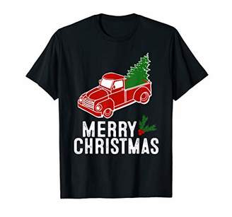 Vintage Red Truck with Christmas Tree Shirt