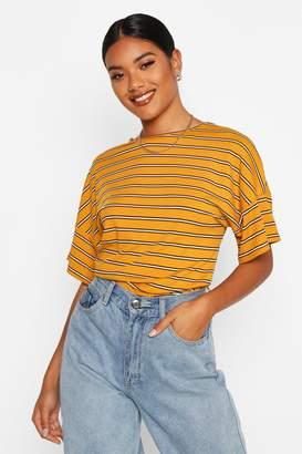 boohoo Oversized Striped Rib T-Shirt