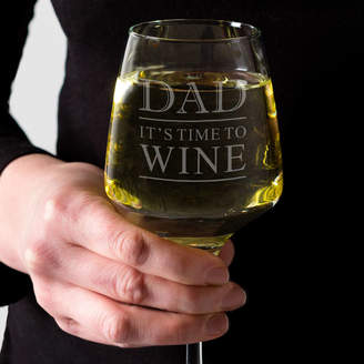 Dust and Things Personalised Dad Wine Glass 'It's Time To Wine'