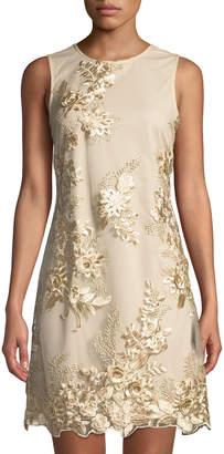 Donna Ricco Embroidered Mesh-Overlay Sheath Cocktail Dress