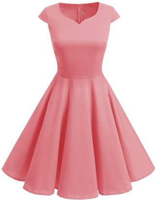 Dresstells reg; Retro 50s Solid Color Cocktail Cap-Sleeves Swing Dresses