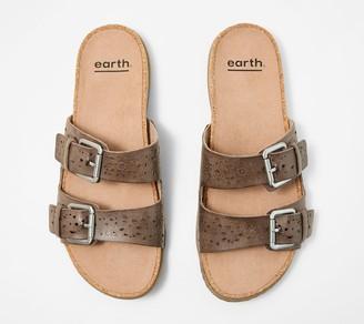 96c8753547e Earth Perforated Leather Slide Sandals- Sand Antigua