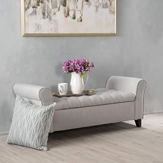 Christopher Knight Home 299379 Living Lamara Sky Grey Fabric Armed Storage Bench
