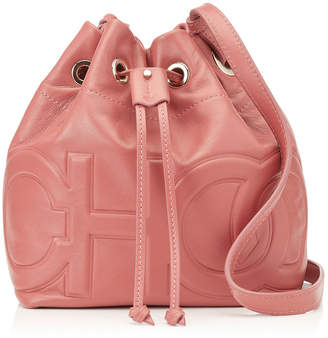 a7ed07f3906a Jimmy Choo JUNO/S Rosewood Nappa Leather Drawstring Bag with Embossed Choo  Logo