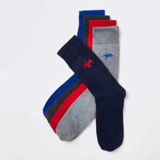River Island Mens Grey dinosaur embroidered socks multipack