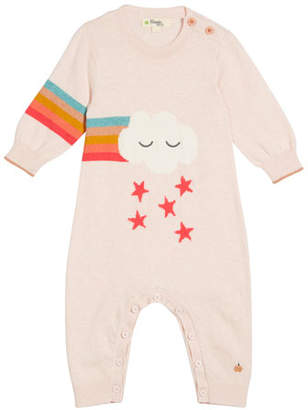 bonniemob Rainbow Cloud Intarsia Knit Coverall, Size 0-18 Months