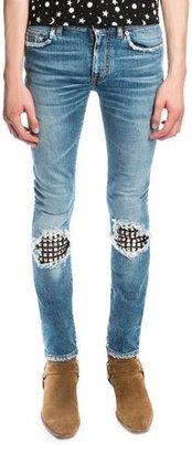 Saint Laurent Low-Waist Studded Leather-Patch Skinny Jeans, Medium Vintage Blue $1,350 thestylecure.com