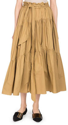 Proenza Schouler Tiered Poplin A-Line Long Skirt