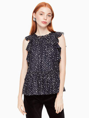 Kate Spade Night sky clipped dot ruffle top