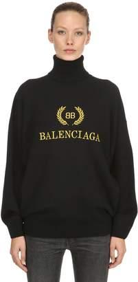 Balenciaga Logo Embroidered Wool Blend Sweater