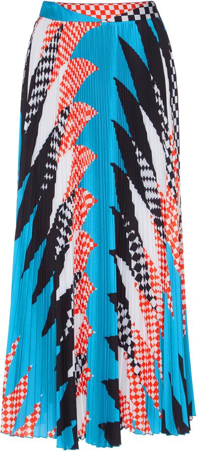MSGM Acid Argyle Pleated Skirt