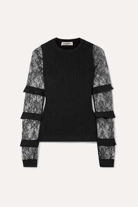 Valentino Ruffle-trimmed Lace And Ribbed-knit Sweater - Black