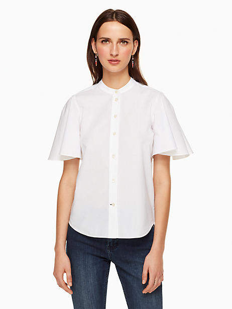 Poplin flutter sleeve top