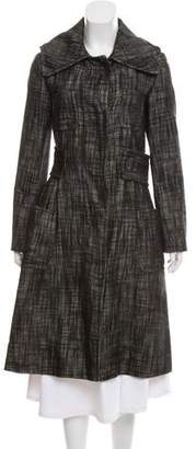 Giambattista Valli Wool & Leather-Blend Long Coat