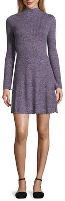 Arizona Long Sleeve Fit & Flare Dress-Juniors