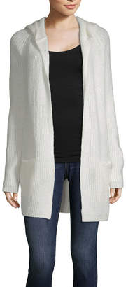 Almost Famous Womens Hooded Neck Long Sleeve Cardigan-Juniors