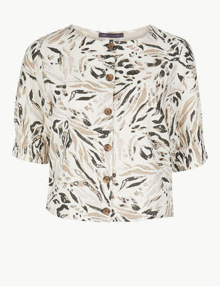 a3d0e9325a7386 M&S CollectionMarks and Spencer Animal Print Round Neck Short Sleeve Blouse