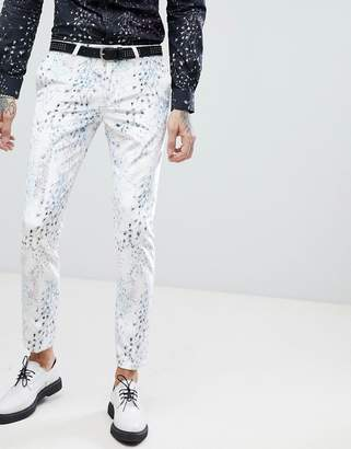 Noose & Monkey Super Skinny Suit Pants In Printed Velvet
