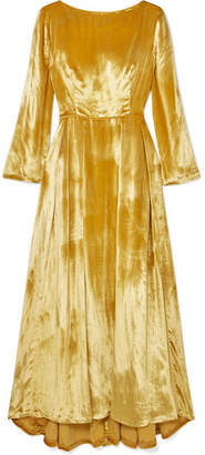 ADAM by Adam Lippes Metallic Silk-velvet Maxi Dress - Yellow