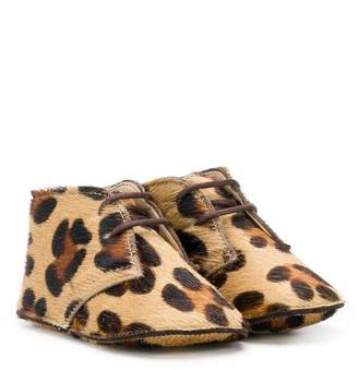 Gallucci Kids leopard-print crib shoes