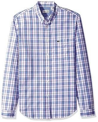 Lacoste Men's Long Sleeve Check Poplin Regular Fit Woven Shirt
