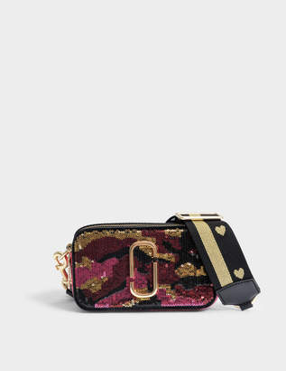 Marc Jacobs Camo Sequin Snapshot Camera Bag in Pink Split Cow Leather