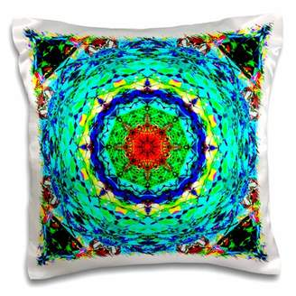 3dRose Blue Kaleidoscope bright and colorful symmetrical abstract design, Pillow Case, 16 by 16-inch