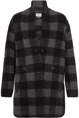 Étoile Isabel Marant - Gino Oversized Checked Wool-blend Coat - Gray $530 thestylecure.com