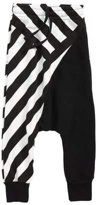 Nununu Half & Half Stripe Baggy Sweatpants
